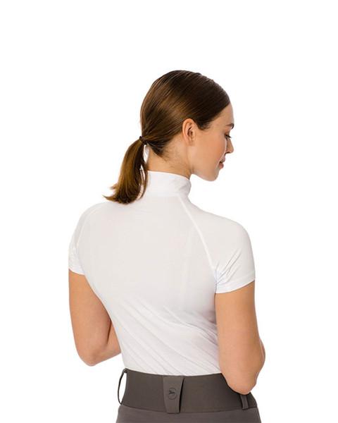 White Aveen Half-Zip Tech Short Sleeve Top by Horseware