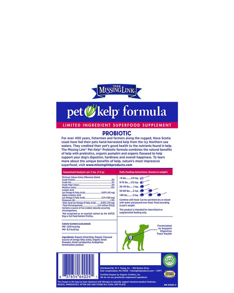 Missing Link Pet Kelp Probiotic powder